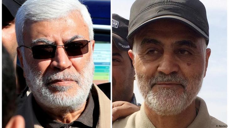 الجنرال قاسم سليماني والى جانبه ابو مهدي المهندس، وقد قتلا فجر الجمعة الثالث من يناير 2020 بضربة صاروخية امريكية على موكبها في بغداد