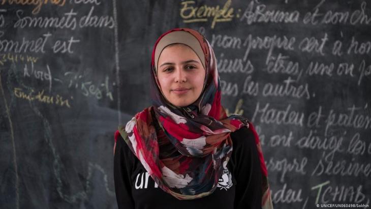 """الناشطة السورية في مجال التعليم مُزن المليحان: """"في مخيم اللاجئين رأيت ماذا يحصل عندما يكون الأطفال مجبرين على الزواج أو العمل""""."""