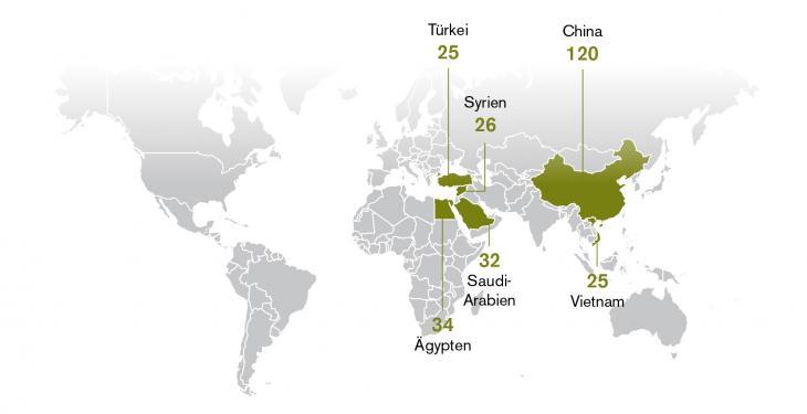 خريطة اعتقالات الصحفيين في الصين والسعودية وسوريا وفيتنام ومصر وتركيا. Quelle: Reporter ohne Grenzen
