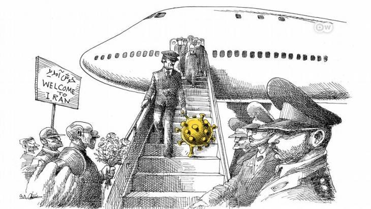 كاريكاتور حول انتشار فيروس كورونا في إيران. Quelle: DW