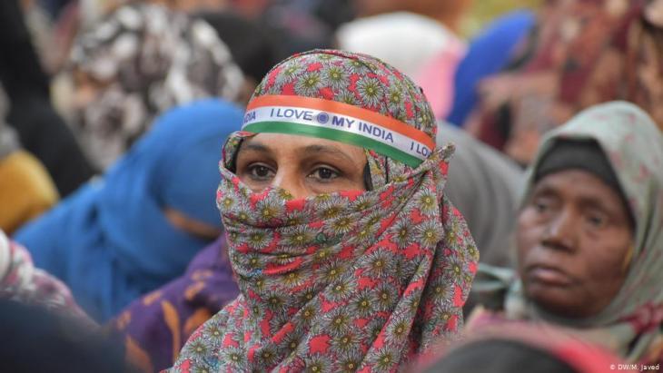 نساء مسلمات محتجات على تعديل قانون الجنسية  في الهند  -  نيودلهي 12 / 01 / 2020. (photo DW/M. Javed)