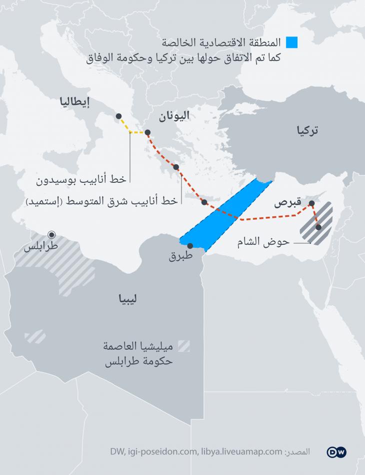 صراع على الكعكة الليبية: جرافيك يوضح حدود المنطقة الإقتصادية التي تم الإتفاق عليها بين تركيا وحكومة فايز السراج المعنرف بها دوليا. الصورة من دويتشه فيله