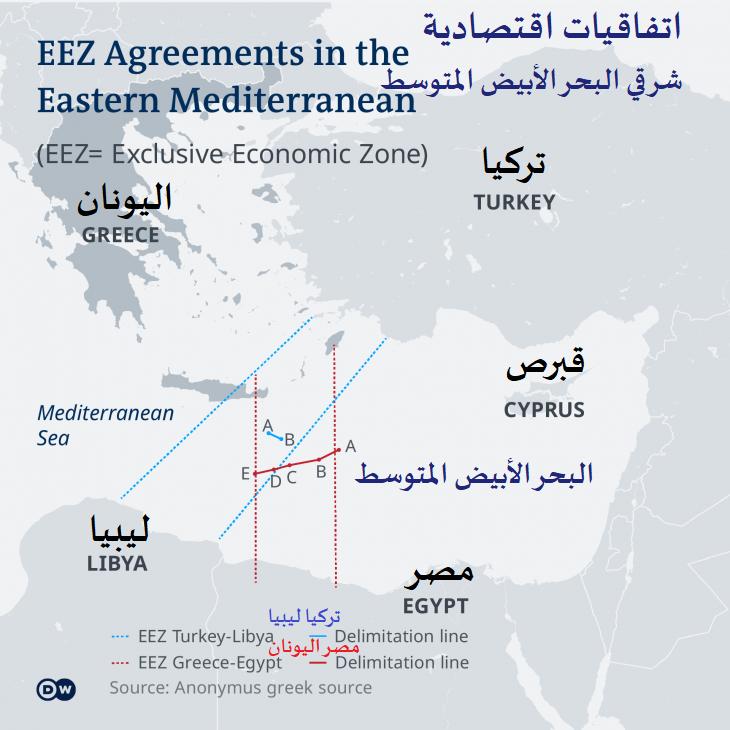 خريطة -  صراع الموارد في شرق البحر الأبيض - تركيا وليبيا مقابل اليونان ومصر