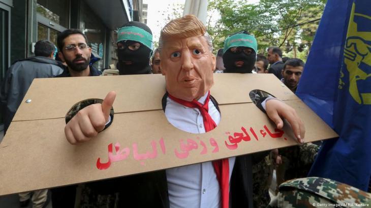 مظاهرات في العاصمة الإيرانية طهران ضد الرئيس الأمركي دونالد ترمب.