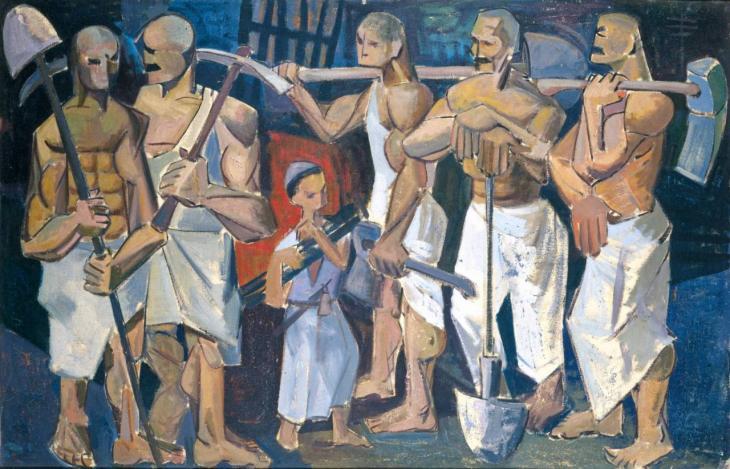 """""""تصوّرُ لوحةُ """"الأيدي"""" 1956 للفنان العراقي كاظم حيدر العاملَ المتواضعَ بوصفه بطلاً.  (photo: Waddah Faris, courtesy of: Dia Azzawi)"""
