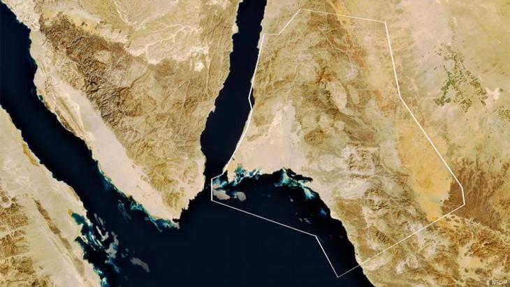 نيوم مدينة مخطط لها في شمال غرب المملكةِ العربية السعودية. ومن المُقرّرِ أن تكون نيوم -التي تغطي مساحة تساوي مساحة بلجيكا (انظر الخريطة). (photo: discoverneom.com)