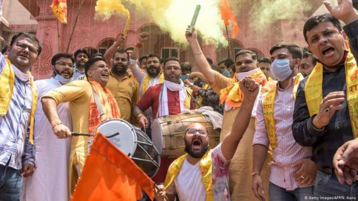 "مناصرون لحزب رئيس وزراء الهند ناريندرا مودي الحاكم  - حزب ""بهاراتيا جاناتا"" (حزب الشعب الهندي).   (Foto: Getty Images/AFP/N. Nanu)"