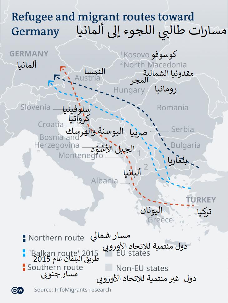 خريطة - مسارات طالبي اللجوء إلى ألمانيا