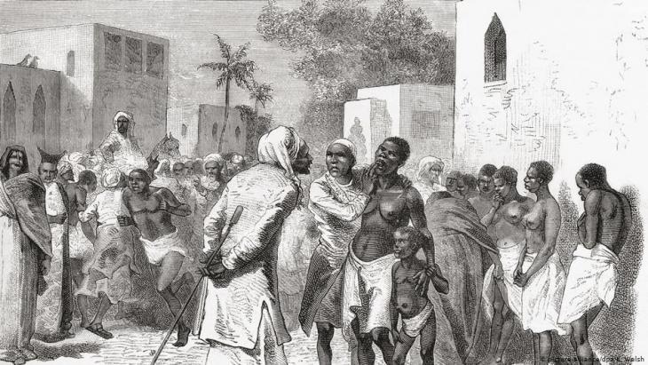 سوق للعبيد في زنجبار - رسم توضيحي من عام 1878.
