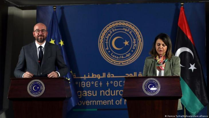 وزيرة الخارجية الليبية نجلاء المنقوش في مؤتمر صحفي مشترك بطرابلس مع شارل ميشيل رئيس المجلس الأوروبي