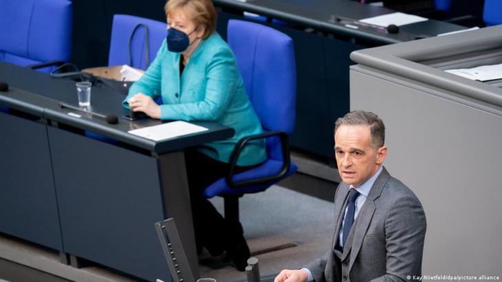 وزير الخارجية الألماني هايكو ماس في البرلمان الألماني (البوندستاغ) - برلين. Foto: Kay Niietfeld/dpa/picture-alliance