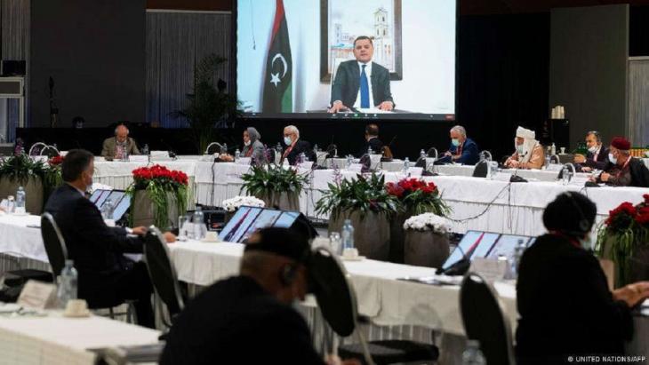 حوار ليبي رعته الأمم المتحدة في جنيف في الخامس من شباط/فبراير 2021. Foto: United Nations/AFP