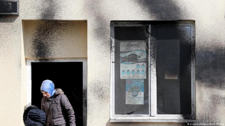 آثار اعتداء بالطلاء على مسجد في مدينة لايبتسيغ عام 2017 – ألمانيا.  (Foto: picture-alliance/dpa/J. Woitas)