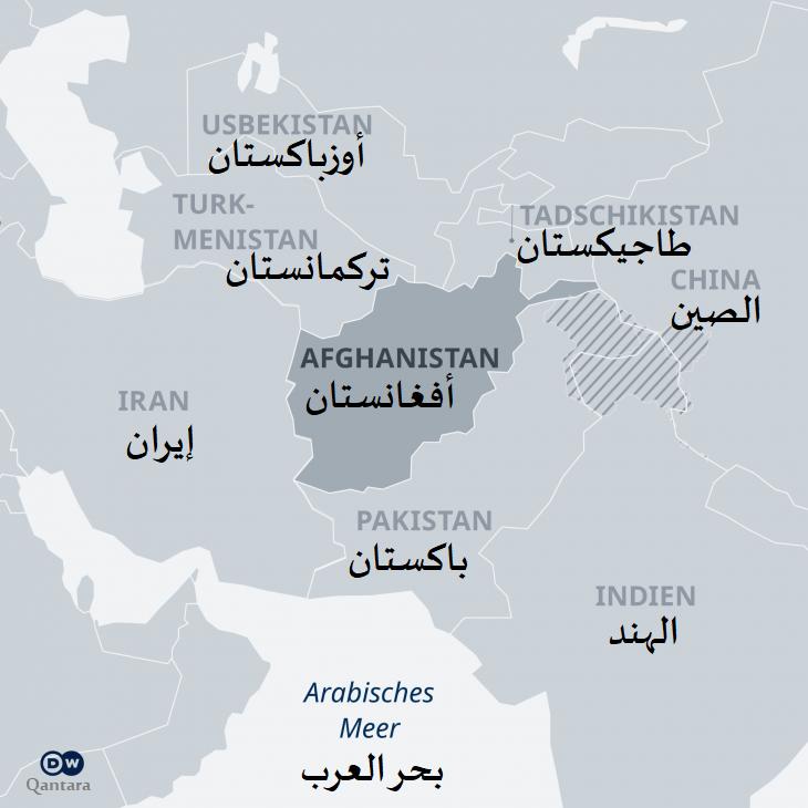 خريطة أفغانستان والدول المجاورة لها. Karte: DW