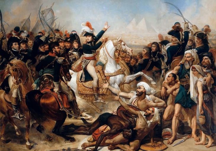 معركة الأهرام - بقيادة نابليون بونابرت - الحملة الفرنسية على مصر - جزء من حملة البحر المتوسط 1798. Battle of the Pyramids 21 July 1798  FOTO Wikimedia Commons