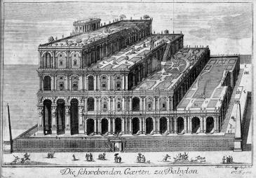 الحدائق المعلقة في بغداد البابلية. صورة رسمها هومفري بريدو عام 1726. image: Wikipedia