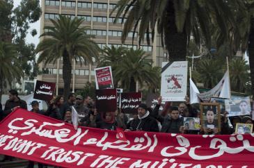 مظاهرة ضد المحاكمات العسكرية في تونس. Foto: Sarah Mersch