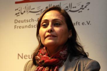 أمل العبيدي، أستاذة السياسة المقارنة في جامعة بنغازي. Foto: DAFG