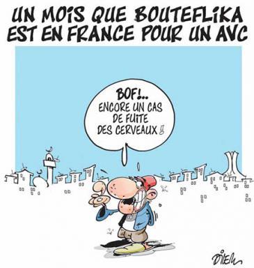 """مضى شهر منذ ذهاب بوتفليقة لفرنسا بسبب سكتة دماغية، حالة أخرى من هجرة الأدمغة - رسم """"ديليم"""" ونشرها في صحيفة Liberté"""