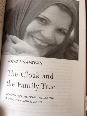 "Libyan author Najwa Binshatwan and ""The Slave Pens"" (source: Twitter)"
