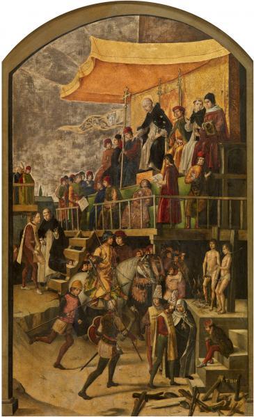 محاكم التفتيش سلطة قضائية كنسيه استثنائية نشطت من القرن الثالث عشر إلى السادس عشر بهدف ملاحقة اكتشاف مخالفي الكنيسة ومعاقبتهم.  Artist Pedro Berruguete 1450–1504 ©