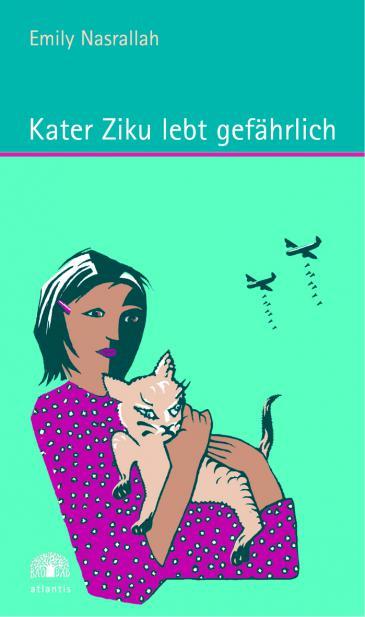 """كتابها الخاص بالأطفال """"يوميات هِر"""" (بالألمانية """"الهر زيكو يعيش خطيرًا""""، عن دار نشر أتلانتس فيرلاغ، عام 2008)، تُصوِّر إميلي نصر الله الحرب الأهلية اللبنانية من وجهة نظر قِطّ ابنتها منى.  Foto: Atlantis Verlag"""
