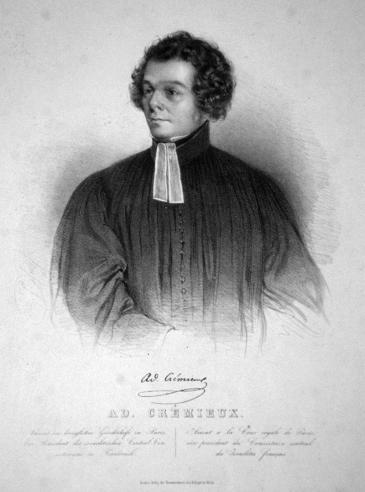 أدولف كريميو: محامٍ ونصير لليهودية. Lithographie von Faustin Herr, 1840; Quelle: Wikipedia