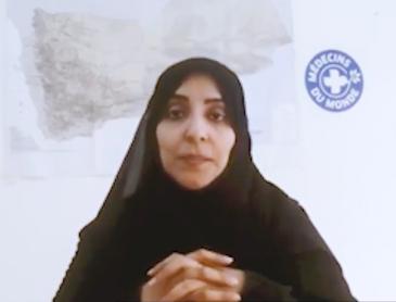 وفاء السعيدي ممثلة منظمة أطباء العالم فرع صنعاء، اليمن. (Skype interview screengrab)