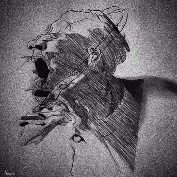 """لوحة فنية """"صرخة غضب"""" - هيا الحمومي - اليمن - مجتمع ضحية حرب شعواء يريد أن يصرخ غضباً.  الصورة: موقع ج."""