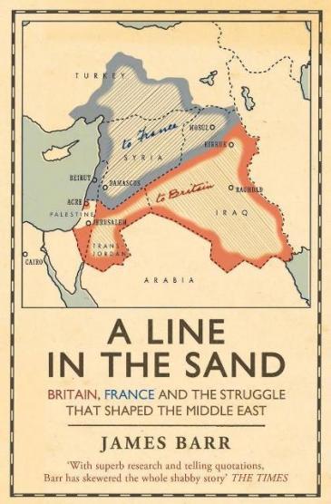 """) """"الغلاف الإنكليزي لِـ كتاب المؤرخ البريطاني جيمس بار """"خط في الرمال"""". Verlag: Simon & Schuster"""
