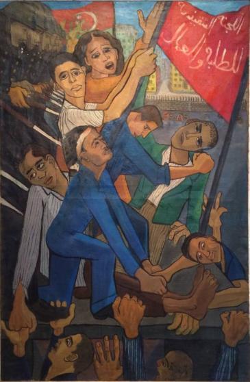 """""""لوحة """"كوبري عباس"""" 1955 للفنانة المصرية جاذبية سرّي تستعيدُ احتجاجات جرت في المنطقةِ الصناعيةِ في """"المحلة الكبرى"""" في مصر في عام 1947.  (photo: Sultan Sooud Al Qassemi)"""