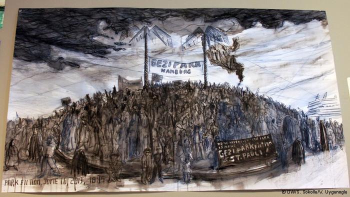 """""""حديقة الخيال"""": في هامبورغ  تظهر لوحة أخرى للفنان كريستوفر """"حديقة الخيال"""" في هامبورغ، التي خرج إليها سكان هامبورغ لإظهار تعاطفهم مع متظاهري حديقة غيزي فور اندلاع الاحتجاجات في تركيا. وكريستوفر نفسه، خرج قبل خمسة عشر عاما للتظاهر دفاعا عن """"حديقة الخيال"""" بمدينته."""