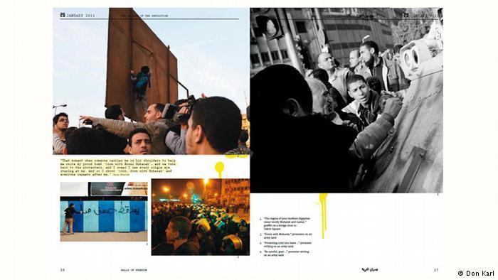 """صدر كتاب """"جدران الحرية"""" عام 2013 لرسوم غرافيتي وثقت الثورة المصرية وتطورها في ثلاثة أعوام. صدر الكتاب باللغة الإنجليزية للناشر الألماني دون كارل وشاركته المصممة المصرية بسمة حمدي."""