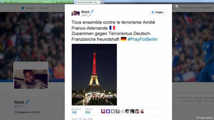 غرد شاب اسمه وليد مظهراً تضامن الشعب الفرنسي مع الألماني