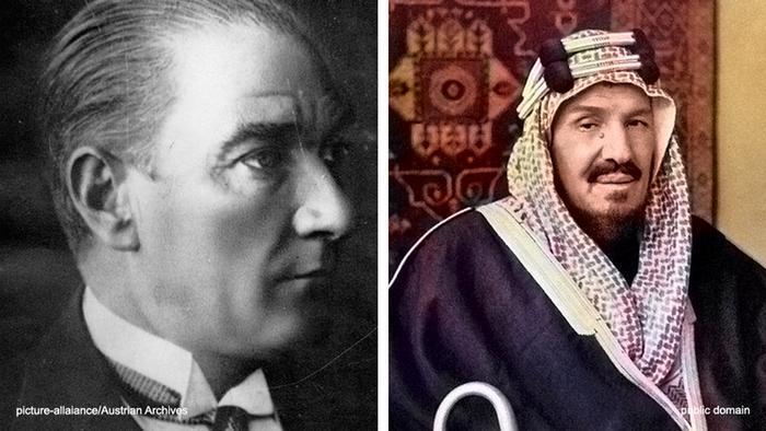 تركيا والسعودية...علاقة مد وجزر مديدة. الصورة: مصطفى كمال أتاتورك وعبد العزيز بن سعود.