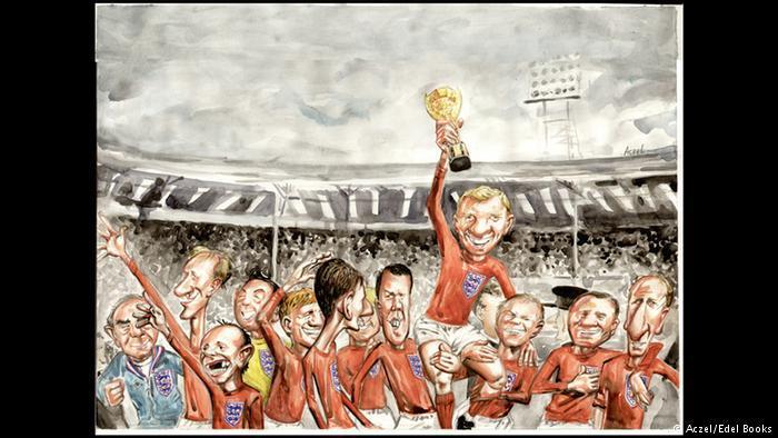 تاريخ المونديال: فعالية اندماجية عالمية - بطولات كأس العالم لكرة القدم في صور كاريكاتورية.