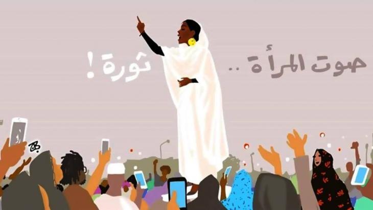 """أيقونة احتجاجات السودان الملقبة في الإنترنت بِـ """"كنداكة"""" أي الملكة النوبية: دور المرأة في الحراك جزء من تاريخنا"""