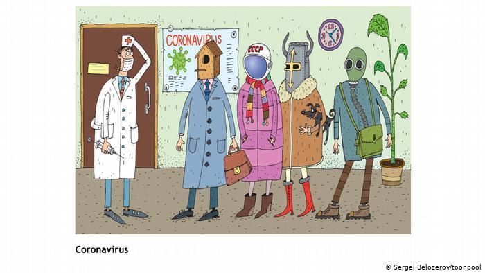 رسوم كاريكاتورية تحكي قصص حياة الناس اليومية في زمن جائحة كورونا الفيروسية