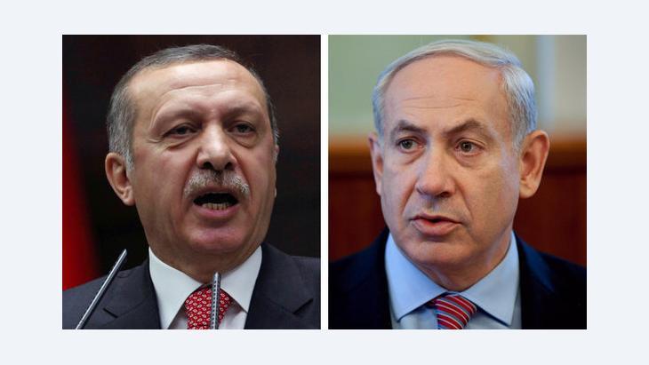 رئيس الوزراء التركي إردوغان ورئيس الوزراء الإسرائيلي نيتنياهو. أ ب