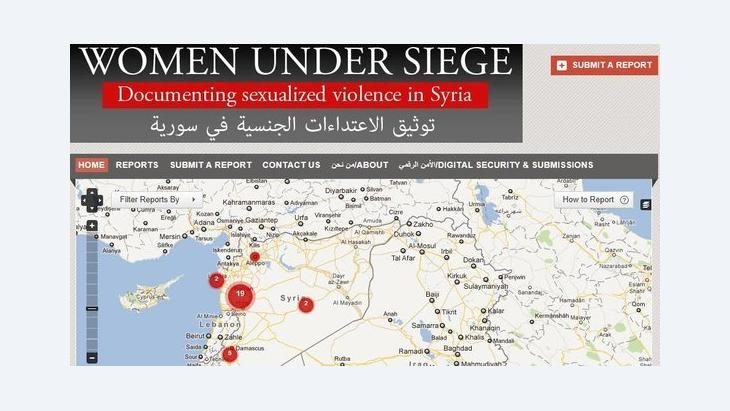 صورة عن موقع ''نساء تحت الحصار''    ''Women under Siege''  على الإنترنت