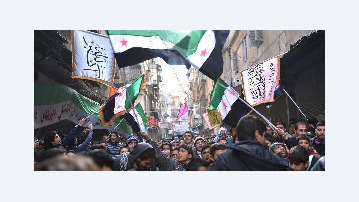 مظاهرات مناوئة لنظام الأسد في حلب 8 فبراير / شباط 2013. أ ف ب