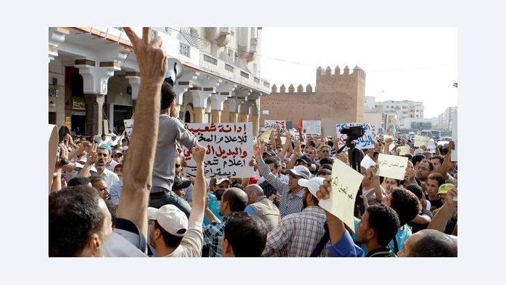 احتجاجات لحركة 20 فبراير ضد الحكومة في الرباط.  أ ب.