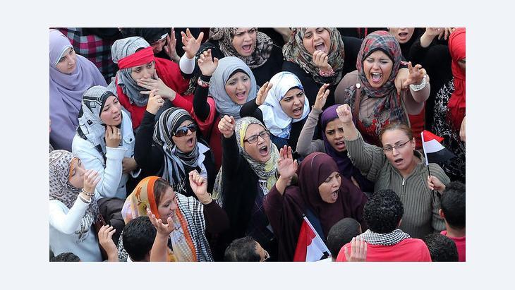 احتجاجات نسائية ضد الرئيس مرسي. د ب أ