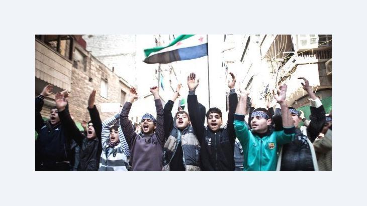 شباب في شمال شرق حلب يحتجون على ممارسات نظام الأسد. د ب أ