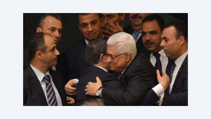 الرئيس الفلسطيني محمود عباس ووفده الرئاسي، في مقر الأمم المتحدة. أ ف ب