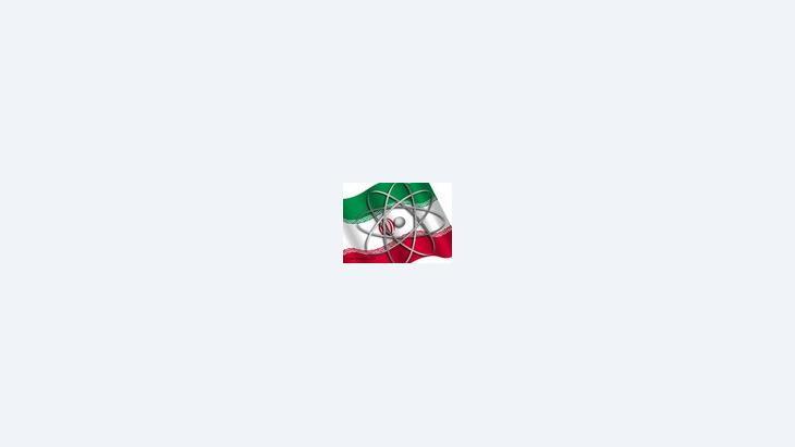 علم إيران ورمز الطاقة النووية، الصورة: دويتشه فيلله