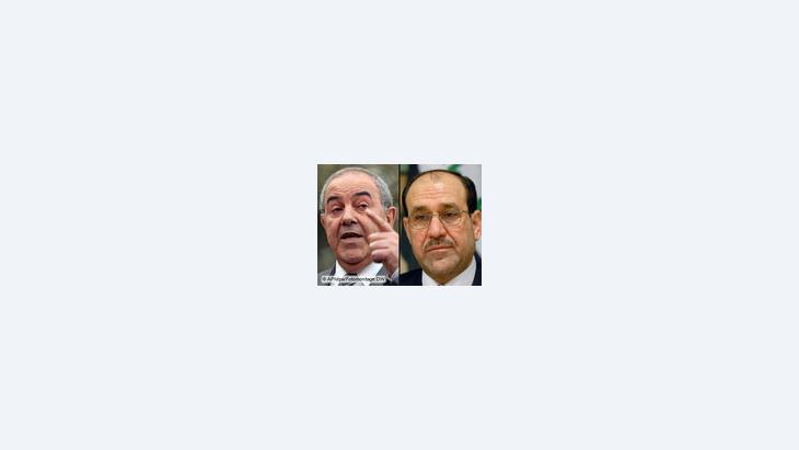 رئيس الوزراء العراقي نوري المالكي ومتحديه إياد علاوي، الصورة أب، دويتشه فيله، د ب أ