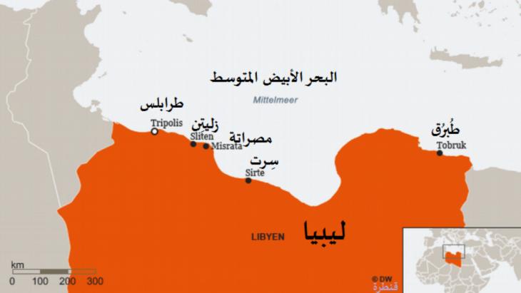 عاصمة ليبيا هي طرابلس والتي تعد أيضا أكبر مدن البلاد. تقع في غرب ليبيا ويسكنها أكثر من مليون نسمة من إجمالي عدد سكان البلاد الذي يتخطى ستة ملايين نسمة. أما ثاني أكبر مدينة فهيبنغازي، وتقع في شرق ليبيا بعدد سكان يصل إلى 700،000 نسمة.