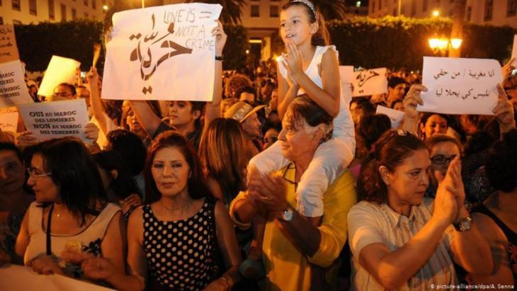 مظاهرة في المغرب ضد القانون الجزائي في المغرب الذي يضيق على حرية التعبير.