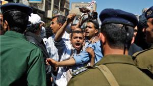 مظاهرات احتجاجية على الرئيس السابق علي عبد الله صالح في صنعاء. أ ب